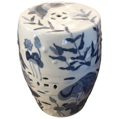 Classic Chinese Blue and White Garden Seat Drinks Table