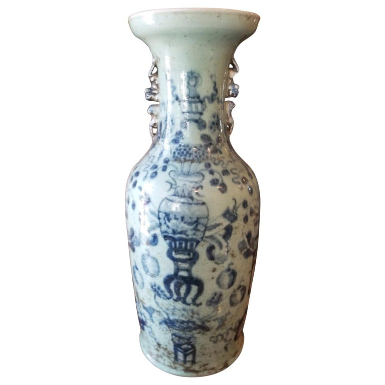 Classic Chinese Celadon Floor Vase, 19th Century For Sale