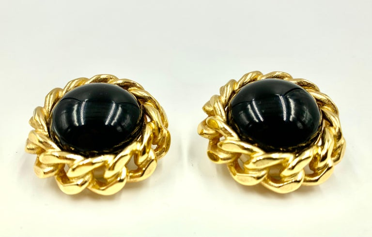 Classic Christian Dior Chain Link Faux Black Onyx Earrings, Vintage, 1980s For Sale 1