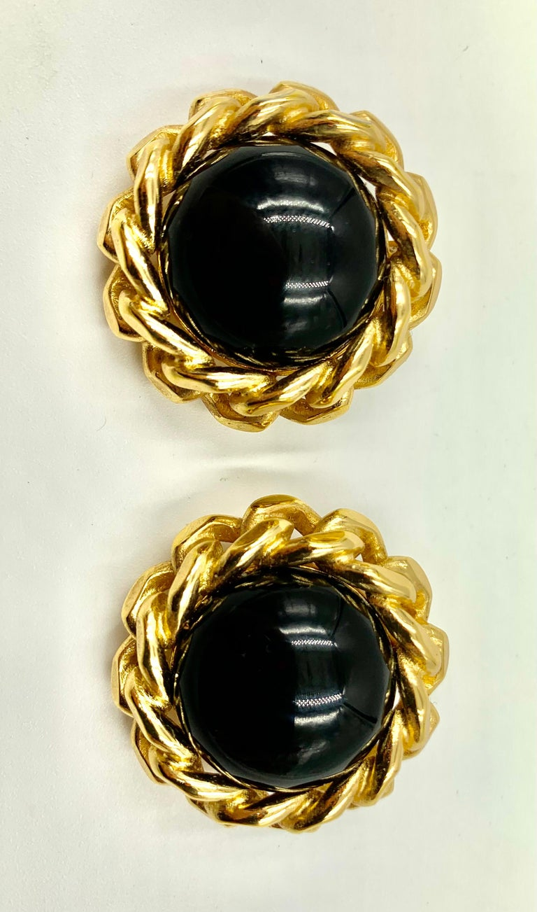 Classic Christian Dior Chain Link Faux Black Onyx Earrings, Vintage, 1980s For Sale 3
