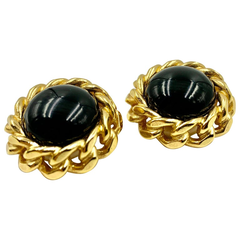 Classic Christian Dior Chain Link Faux Black Onyx Earrings, Vintage, 1980s For Sale