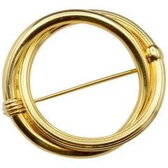 Classic Circle Round 18 Karat Gold Pin