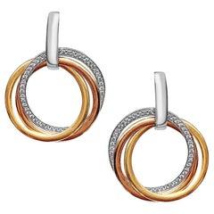Classic Combination Three Gold Color 18 Karat Earrings