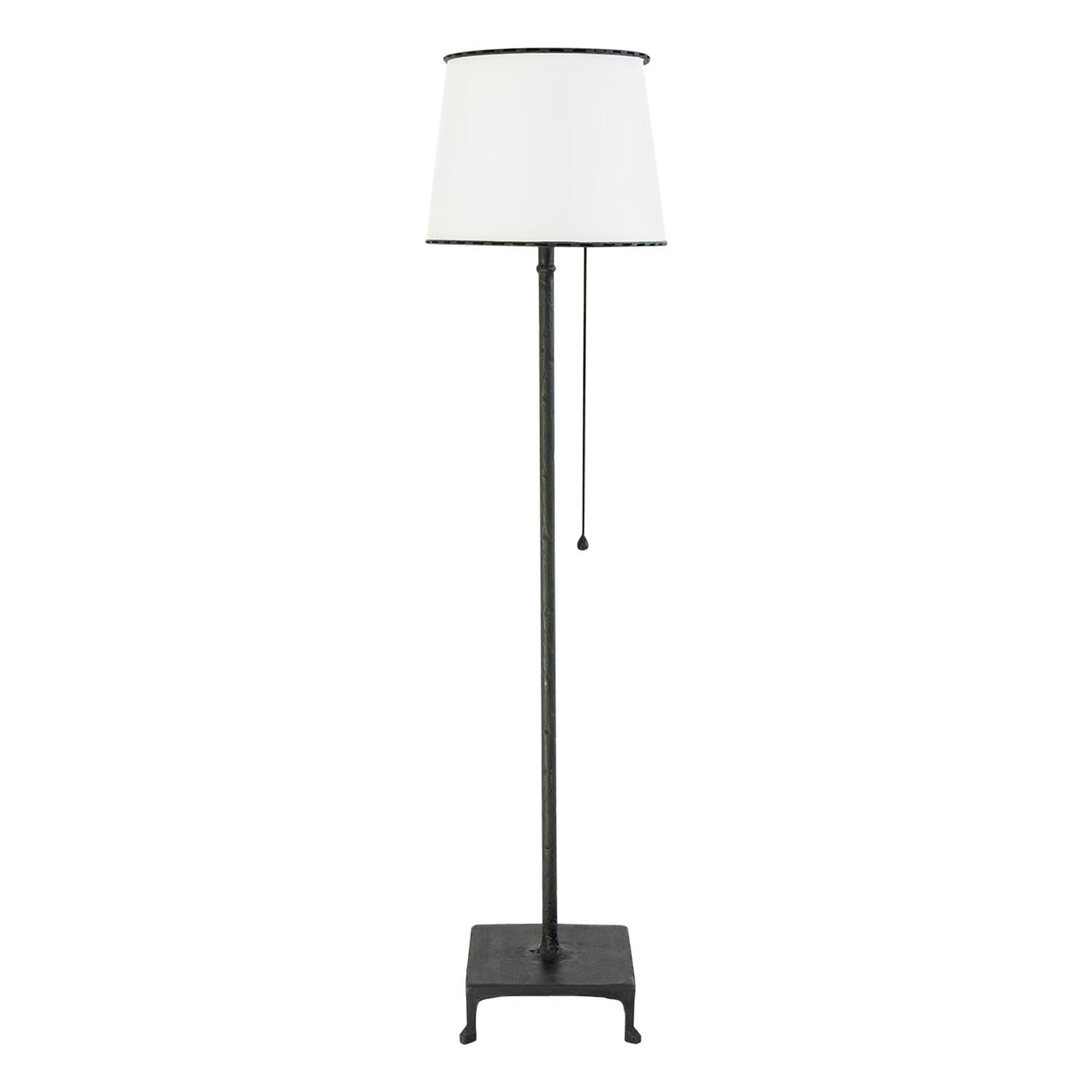 Floor Lamp Classic Contemporary Handsculpted Blackened Steel and Parchment Shade
