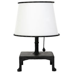 Classic Contemporay Hand-Sculpted Blackened Steel Table Lamp and Parchment Shade
