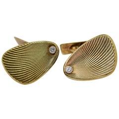 Classic Cufflinks, 14 Karat Yellow Gold with Diamonds