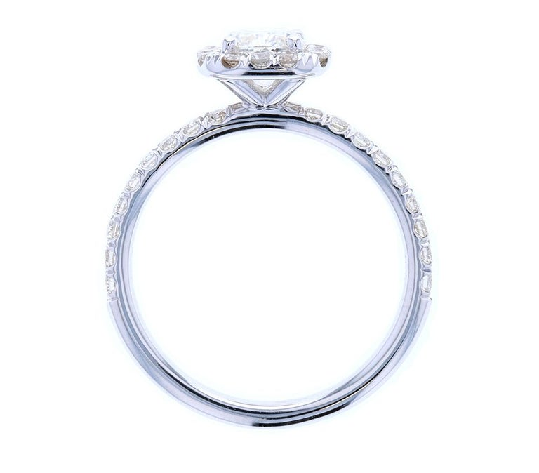 Contemporary Classic Cushion Cut Diamond Engagement Ring with Diamond Halo For Sale