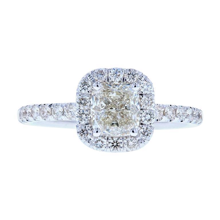Classic Cushion Cut Diamond Engagement Ring with Diamond Halo