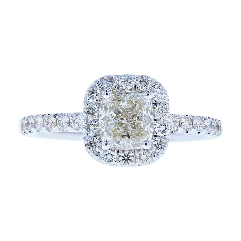 Classic Cushion Cut Diamond Engagement Ring with Diamond Halo For Sale