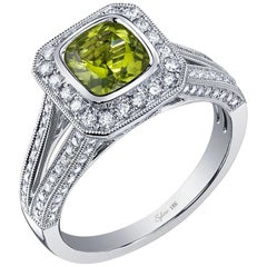 Classic Cushion Cut Peridot Halo Engagement Ring SS028