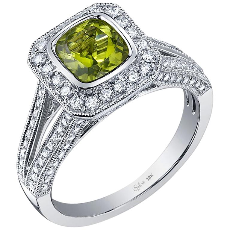 Classic Cushion Cut Peridot Halo Engagement Ring SS028 For Sale