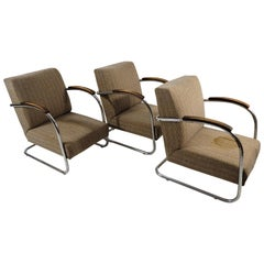 Classic Czech Chrome Chairs from Mücke Melder, 1940s, Set of 3