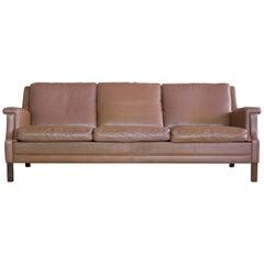 Classic Danish 1960s Sofa in Brown Buffalo Leather by Georg Thams