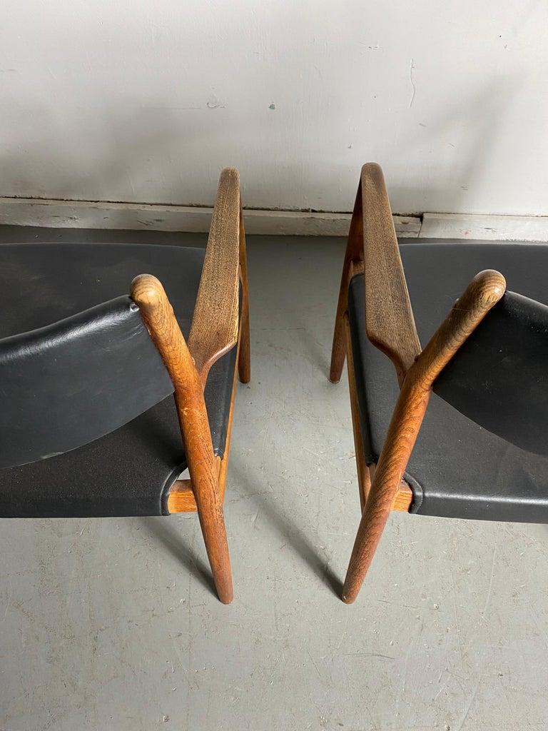 Scandinavian Modern Classic Danish Armchairs in Solid Oak by Knud Andersen, J.C.A. Jensen For Sale