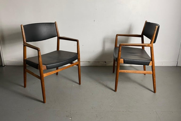 Classic Danish Armchairs in Solid Oak by Knud Andersen, J.C.A. Jensen In Good Condition For Sale In Buffalo, NY