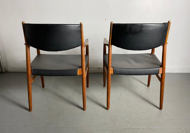 Mid-20th Century Classic Danish Armchairs in Solid Oak by Knud Andersen, J.C.A. Jensen For Sale