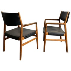Classic Danish Armchairs in Solid Oak by Knud Andersen, J.C.A. Jensen