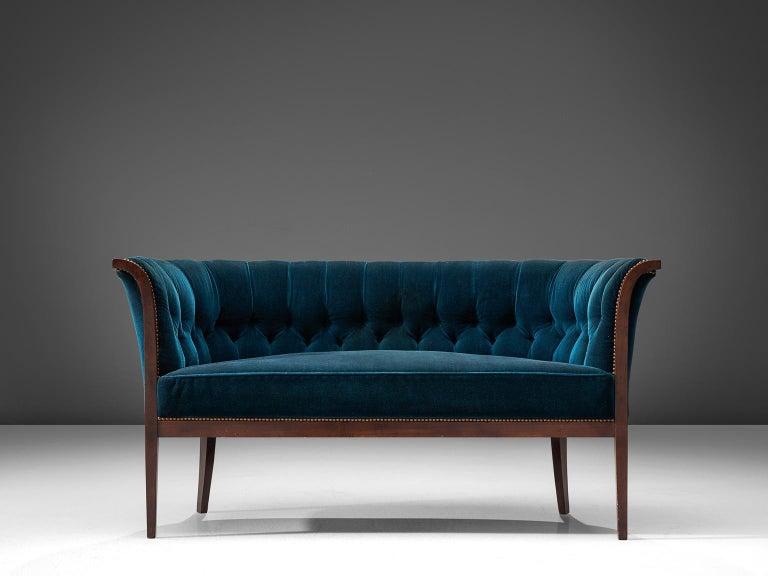 Scandinavian Modern Classic Danish Blue Velvet Living Room Set For Sale