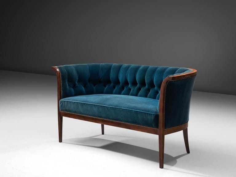 Classic Danish Blue Velvet Living Room Set In Good Condition For Sale In Waalwijk, NL