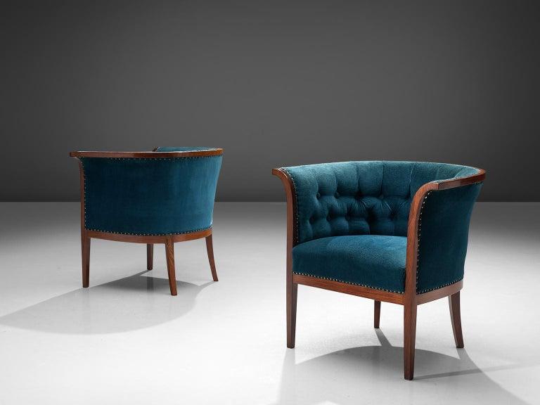 Mid-20th Century Classic Danish Blue Velvet Living Room Set For Sale