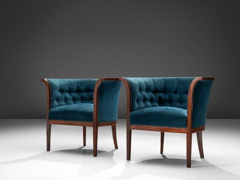 Classic Danish Blue Velvet Living Room Set For Sale 1