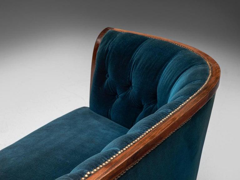 Classic Danish Blue Velvet Living Room Set For Sale 2