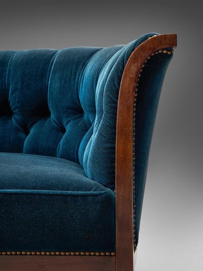 Classic Danish Blue Velvet Living Room Set For Sale 3