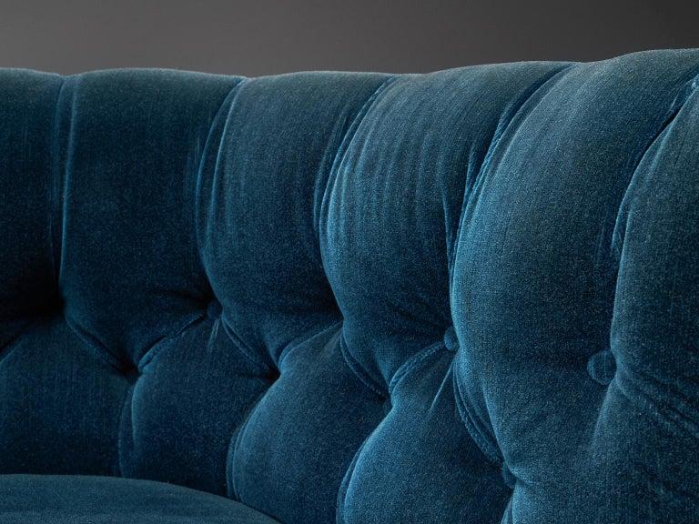 Classic Danish Blue Velvet Living Room Set For Sale 4
