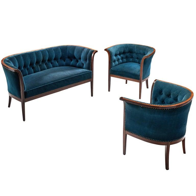 Classic Danish Blue Velvet Living Room Set For Sale