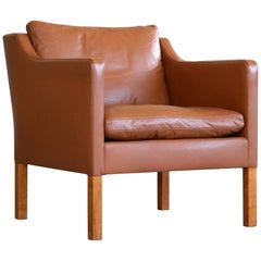 Classic Danish Borge Mogensen Style Easy Chairs Model 2421 in Cognac Leather
