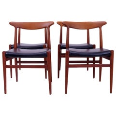 Classic Danish Design Hans Wegner W2 Chairs in Teak, Set of 4