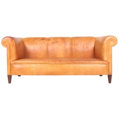 Classic Danish Design Sofa in Patinated Leather, 1940s