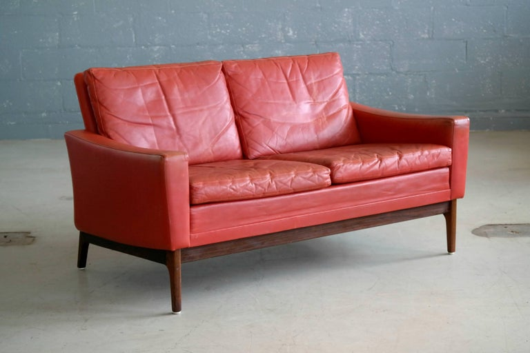 Classic Danish Mid-Century Modern Sofa in Red Leather and Rosewood ...