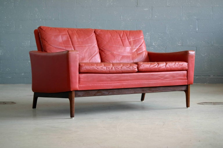 Classic Danish Mid Century Modern Sofa In Red Leather And