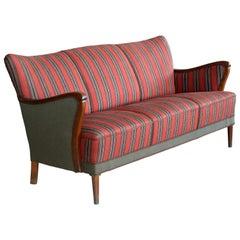 Classic Danish Midcentury Frits Henningsen Style Three-Seat Sofa