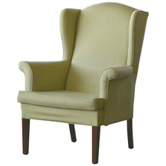Classic Danish Midcentury Wingback Chair in Light Green Wool