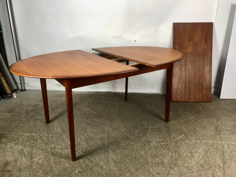 Classic Danish Modern Oval Extension Dining Table in Teak ...