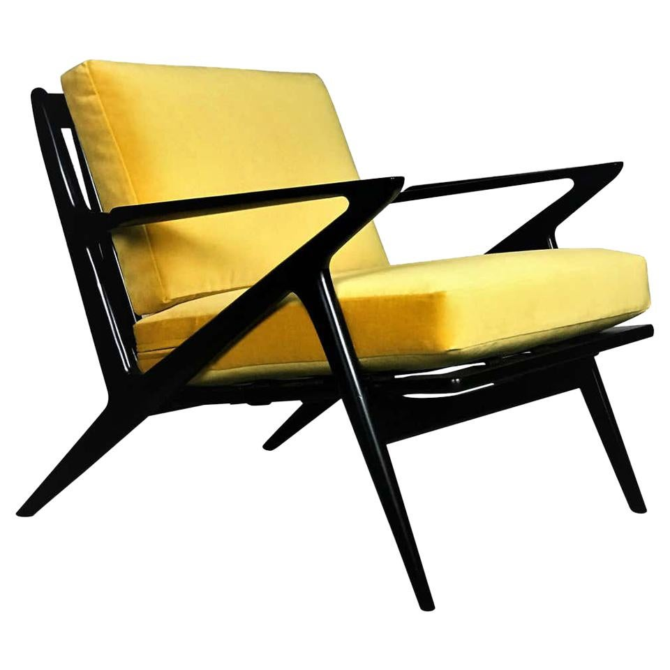 Mid Century Lounge Chair in Ebony and Goldenrod Velvet by Poul Jensen for Selig