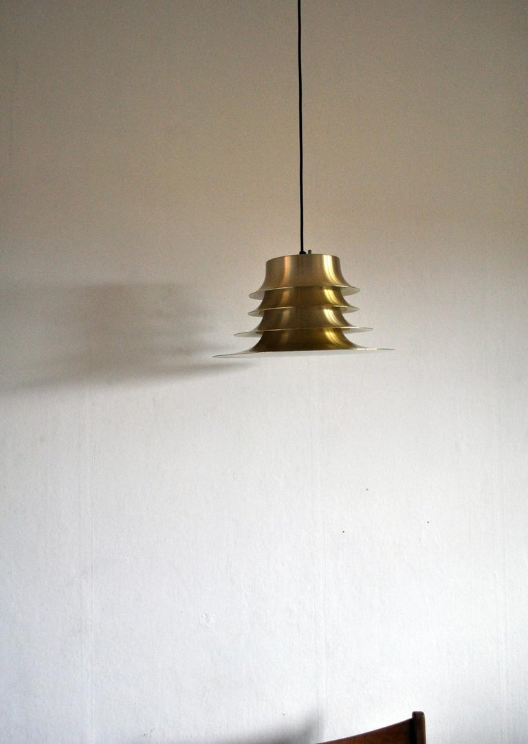 Classic Danish Multilayered Pendant Light in Brass For Sale 5