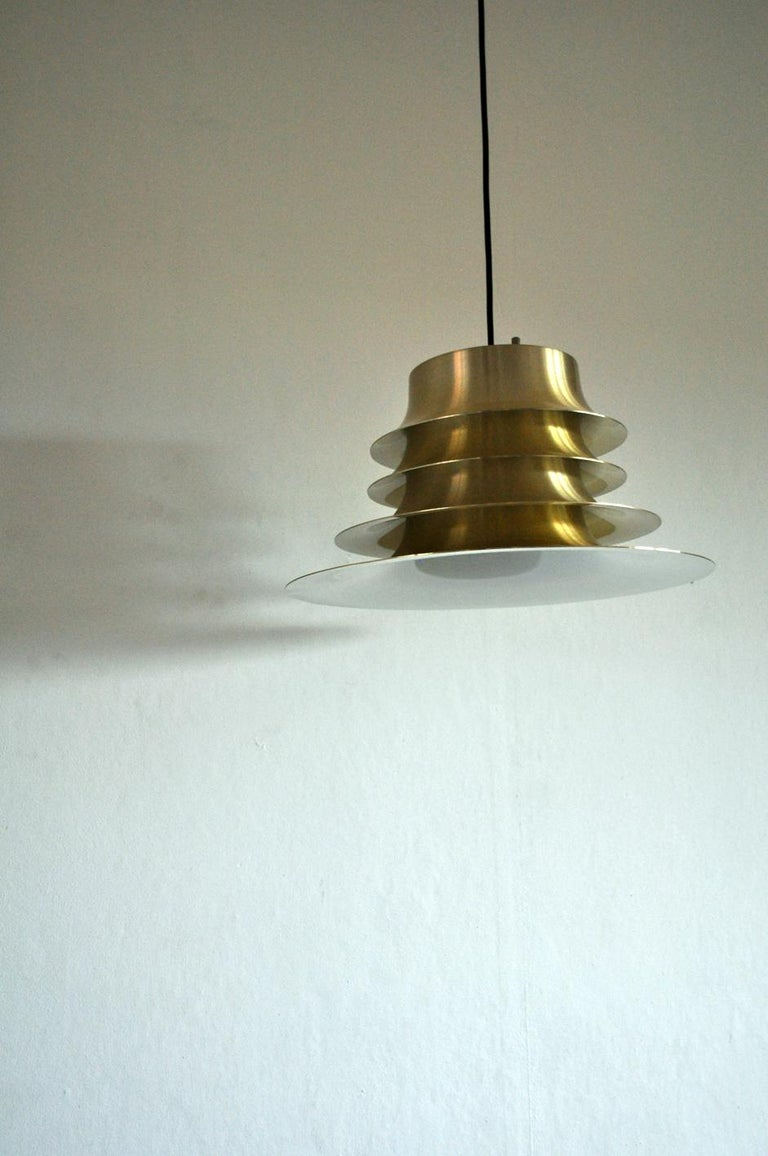 Classic Danish Multilayered Pendant Light in Brass For Sale 3