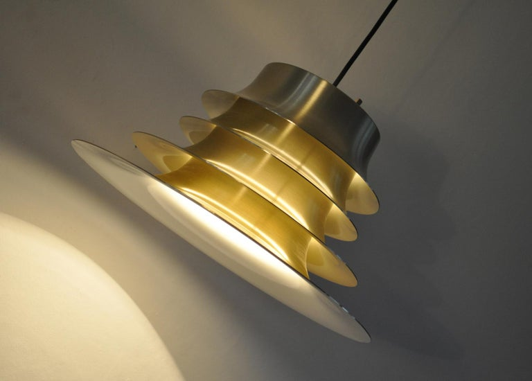 Classic Danish Multilayered Pendant Light in Brass For Sale 4