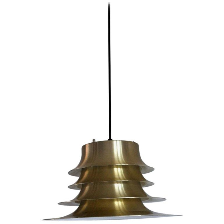 Classic Danish Multilayered Pendant Light in Brass For Sale