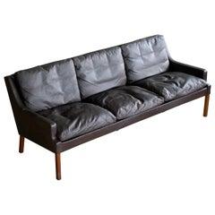 Classic Danish Slim Profile 1960s Sofa in Espresso Brown Leather by Georg Thams