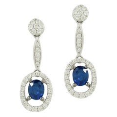 Classic Diamond Blue Sapphire White Gold Dangle Earrings