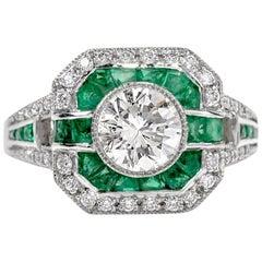 Classic Diamond Emerald Platinum Engagement Ring