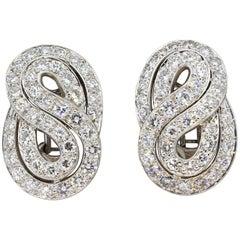 Classic Diamond Gold Infinity Clip-On Earrings