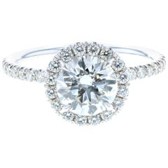 Classic Diamond Halo Engagement Ring with Diamonds on the Legs