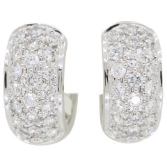 Classic Diamond Huggie Earrings in 18 Karat White Gold