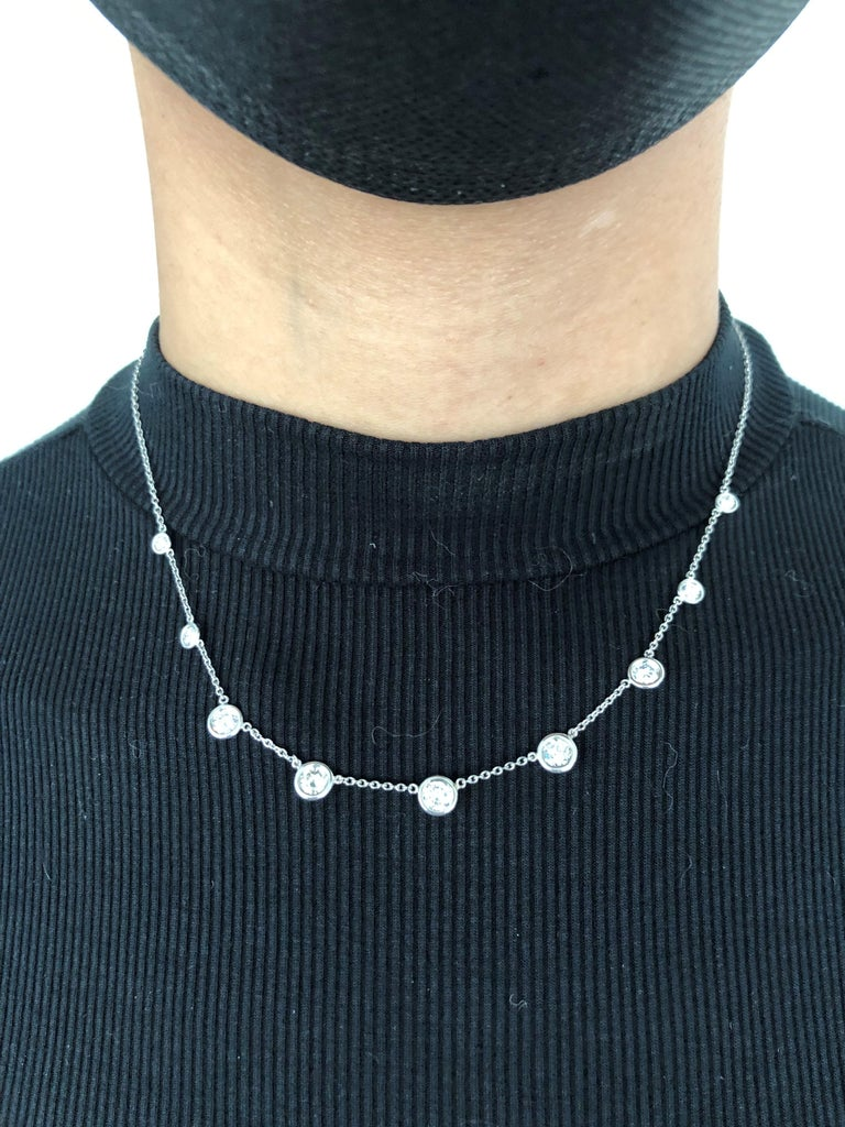 Classic Diamond Necklace in 18 Karat White Gold For Sale 5