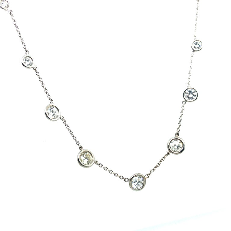 Modern Classic Diamond Necklace in 18 Karat White Gold For Sale
